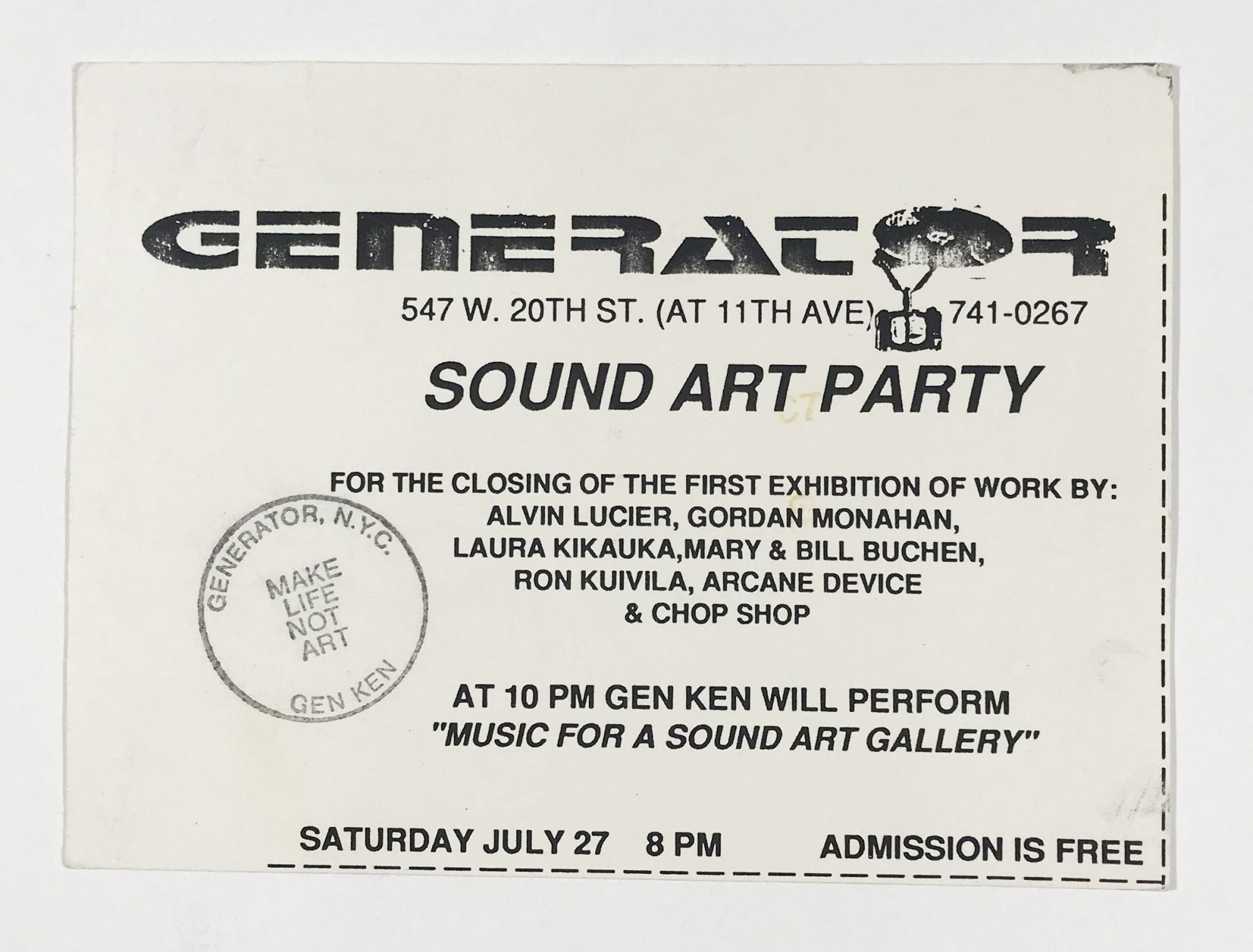 Postcard Invitation to the Sound Art Party at Generator by Alvin Lucier on  Division Leap