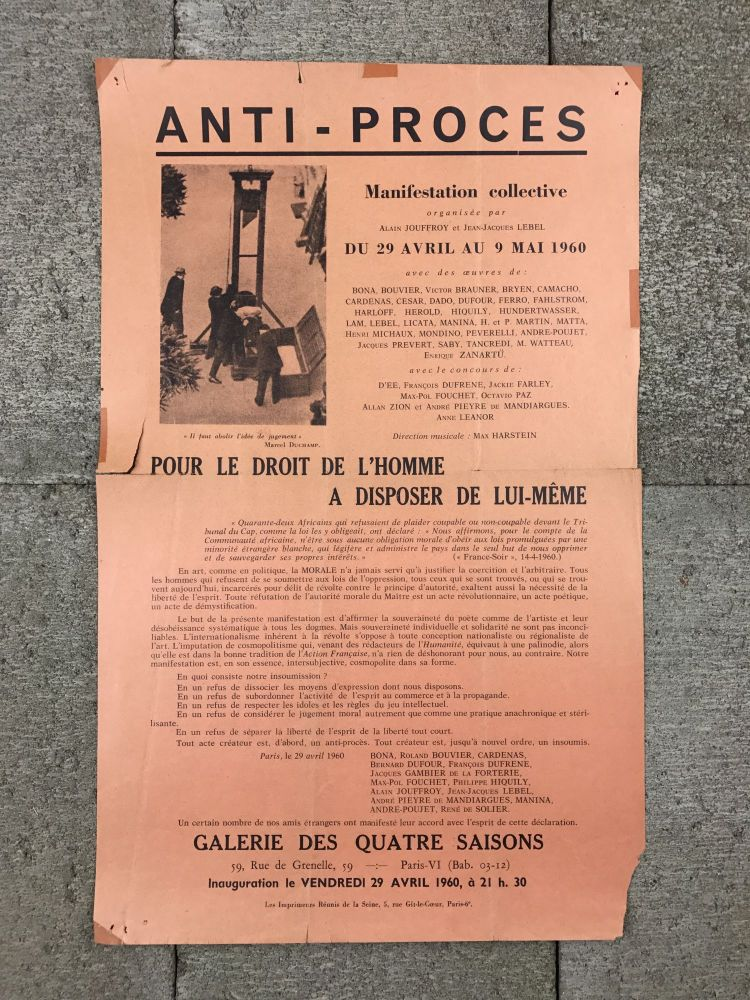 Anti-Proces: Manifestation Collective. Jean-Jacques Lebel, organizers Alain Jouffroy.