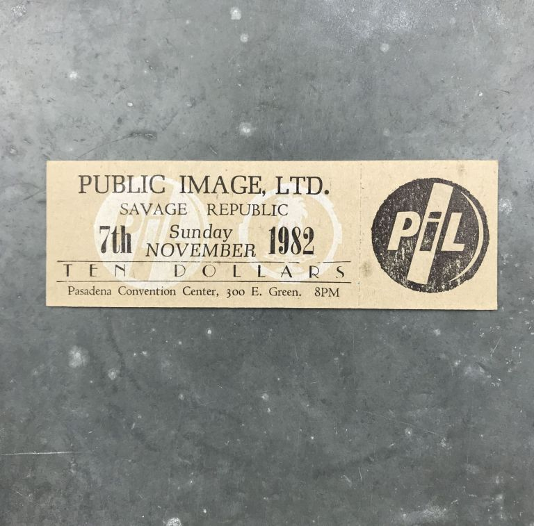 Unused Letterpress Ticket for a 1982 Show at the Pasadena Convention Center. Public Image Ltd., Savage Republic.