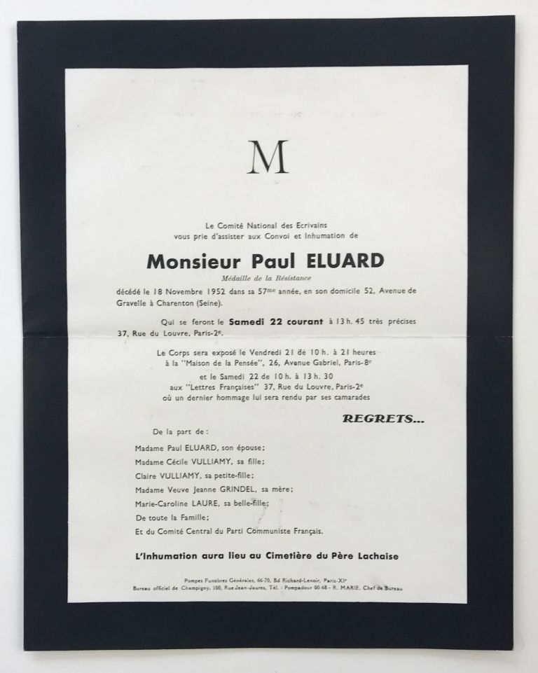 [Funeral announcement for Paul Eluard, addressed and mailed to Lucien Scheler]. Paul Eluard, Le Comité National des Ecrivains.