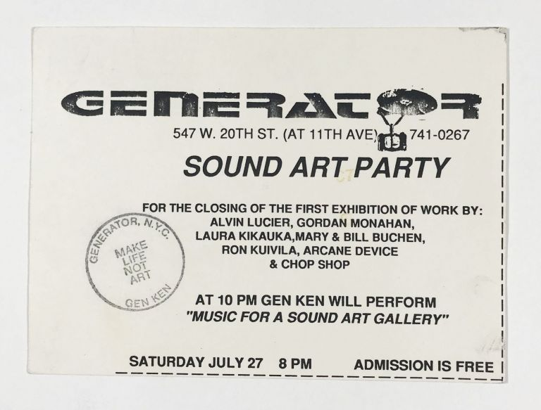 Postcard Invitation to the Sound Art Party at Generator. Alvin Lucier.