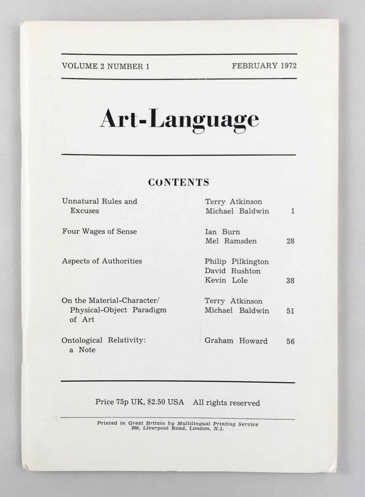 Art-Language. Vol. 2, No. 1. Art, Language.