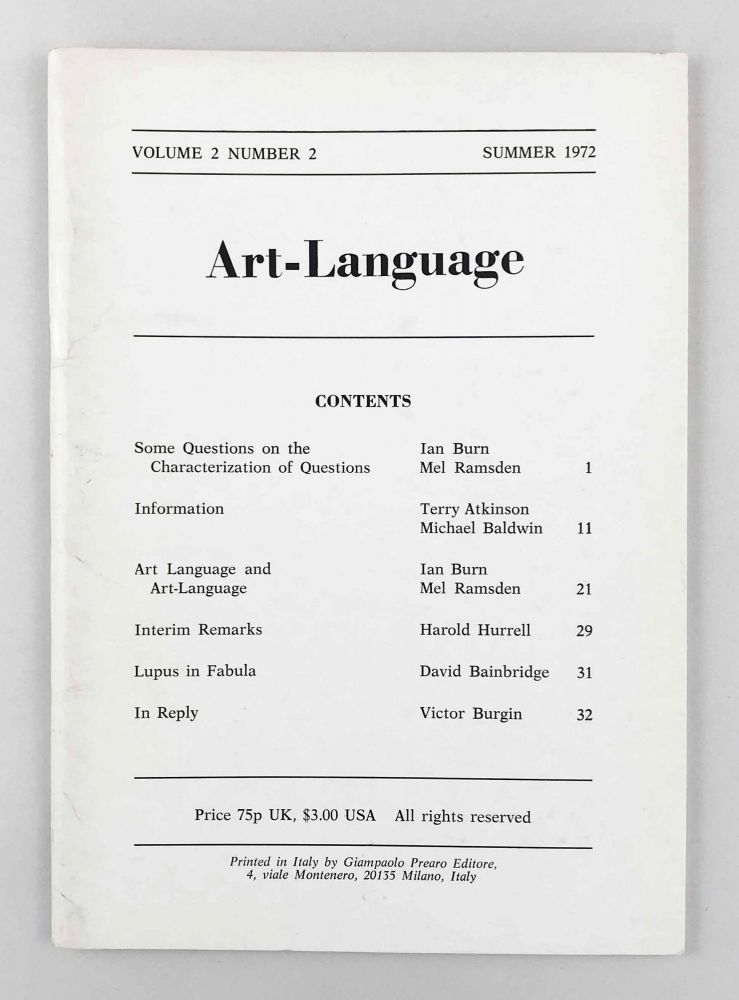 Art-Language. Vol. 2, No. 2. Art, Language.