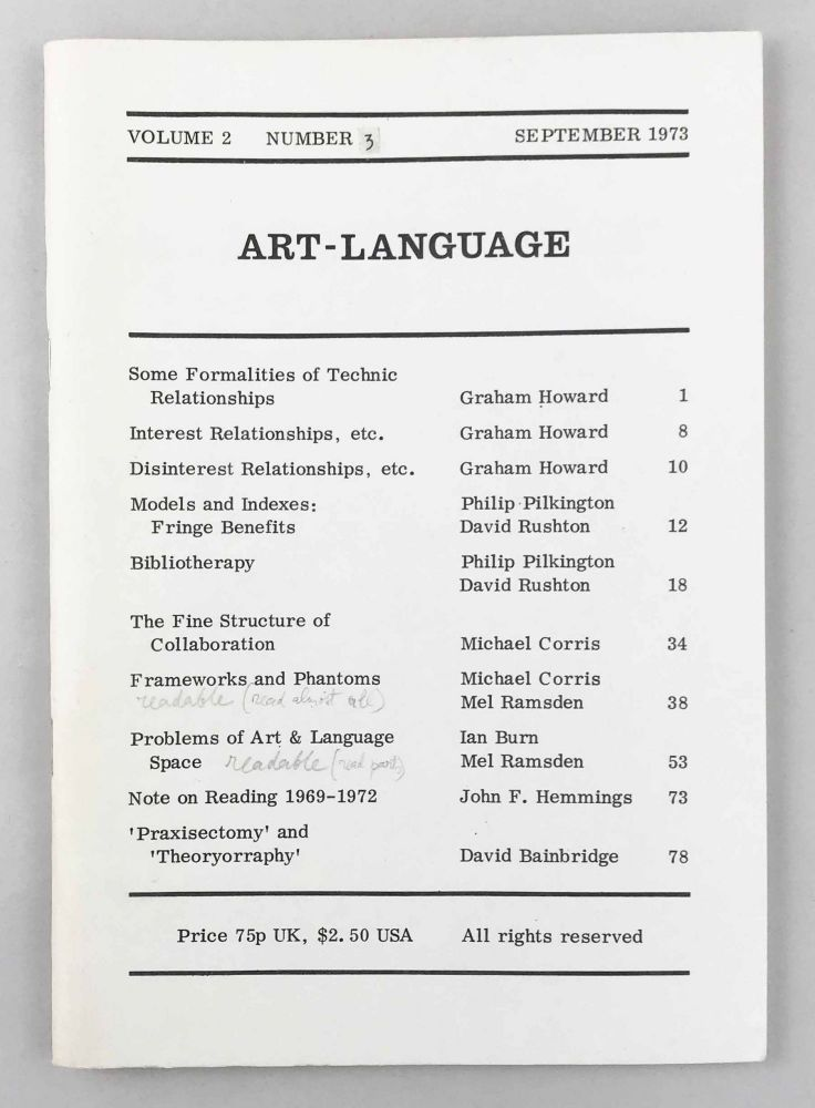 Art-Language. Vol. 2, No. 3. Art, Language.