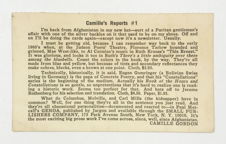 Camille's Reports #1. Something Else Press, Camille Gordon.