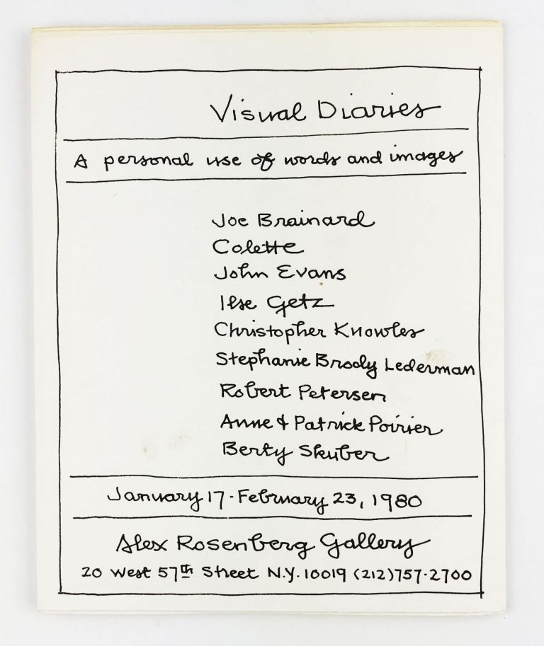 Visual Diaries: A Personal Use of Words and Images. Joe Brainard.