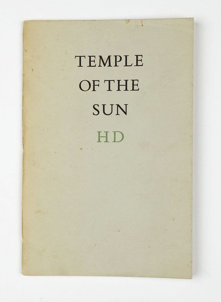 Temple of the Sun. H. D., Hilda Doolittle.