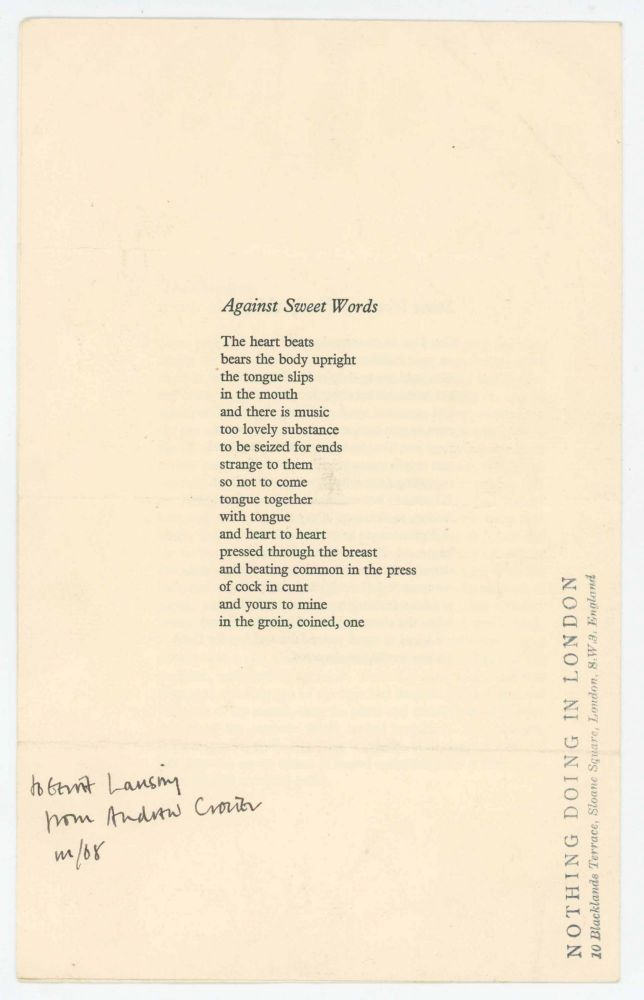 Four Poems. Andrew Crozier.