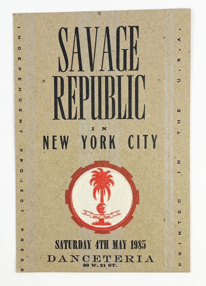 Letterpress Postcard for a 1985 Show in New York City at Danceteria. Savage Republic.