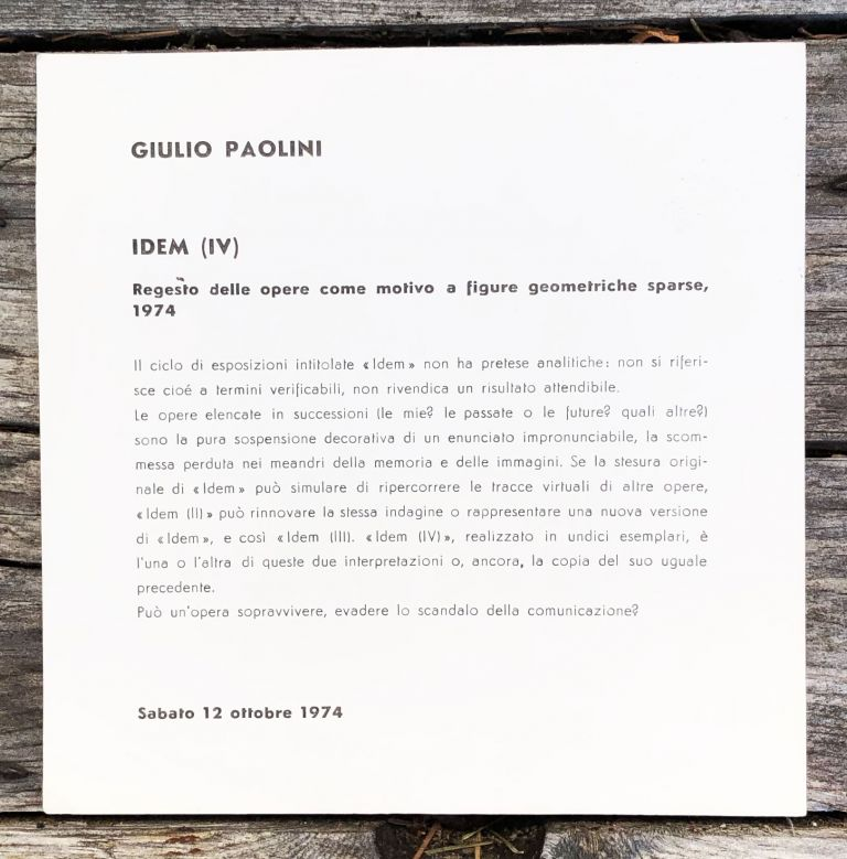 IDEM (IV) Exhibition Announcement. Giulio Paolini.