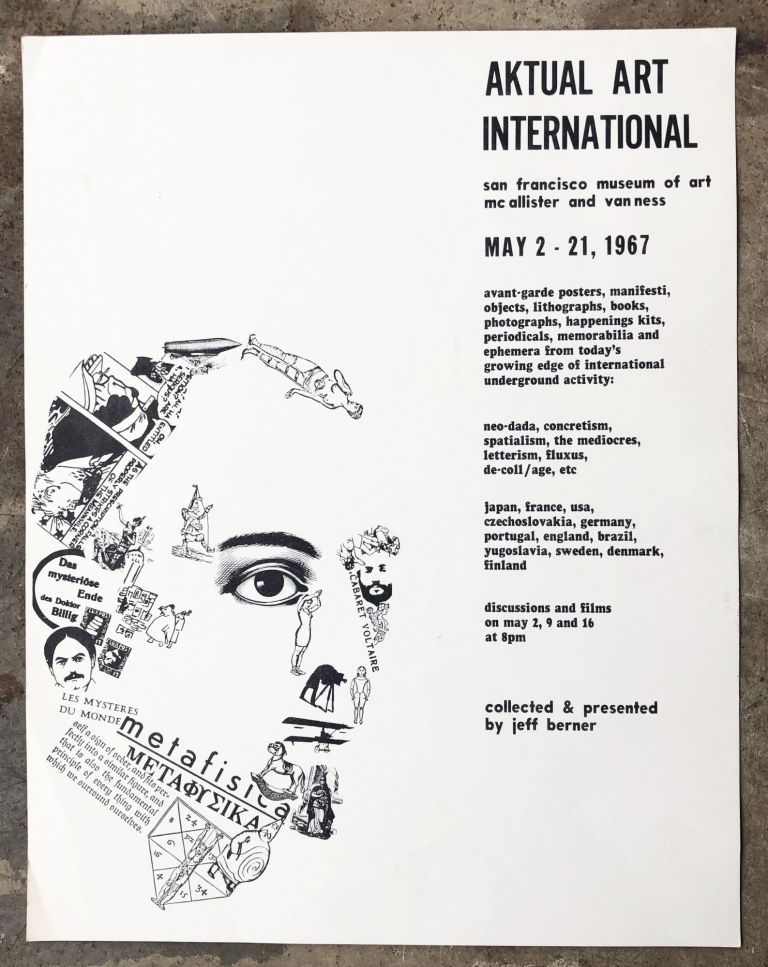Poster for Aktual Art International. Jeff Berner, Lorenz Eitner Francoise Forster-Hahn.