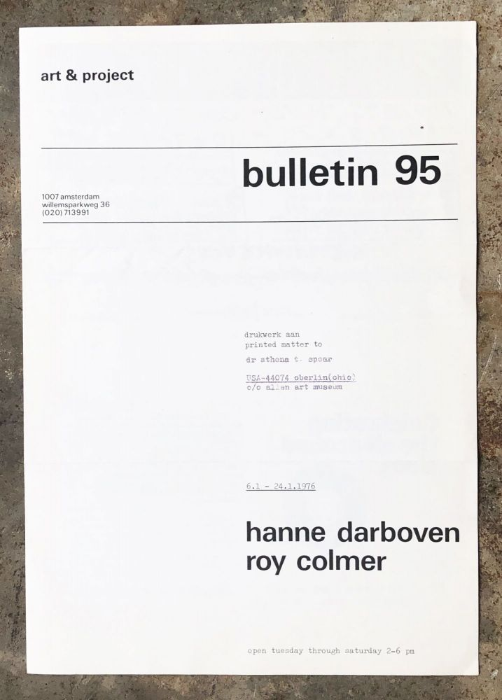 Art & Project Bulletin 95. Hanne Darboven, Roy Colmer.