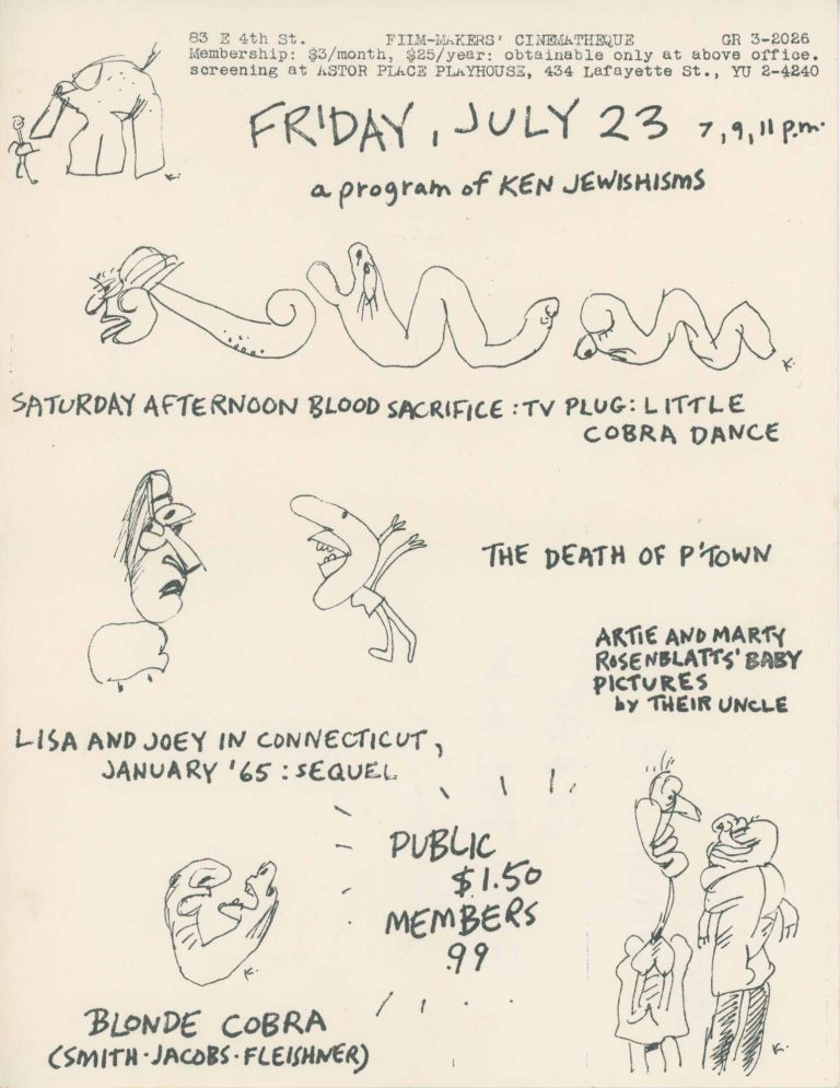 Flyer for a Friday, July 23 Screening of Blonde Cobra & Other Films. Jack Smith, Ken Jacobs.