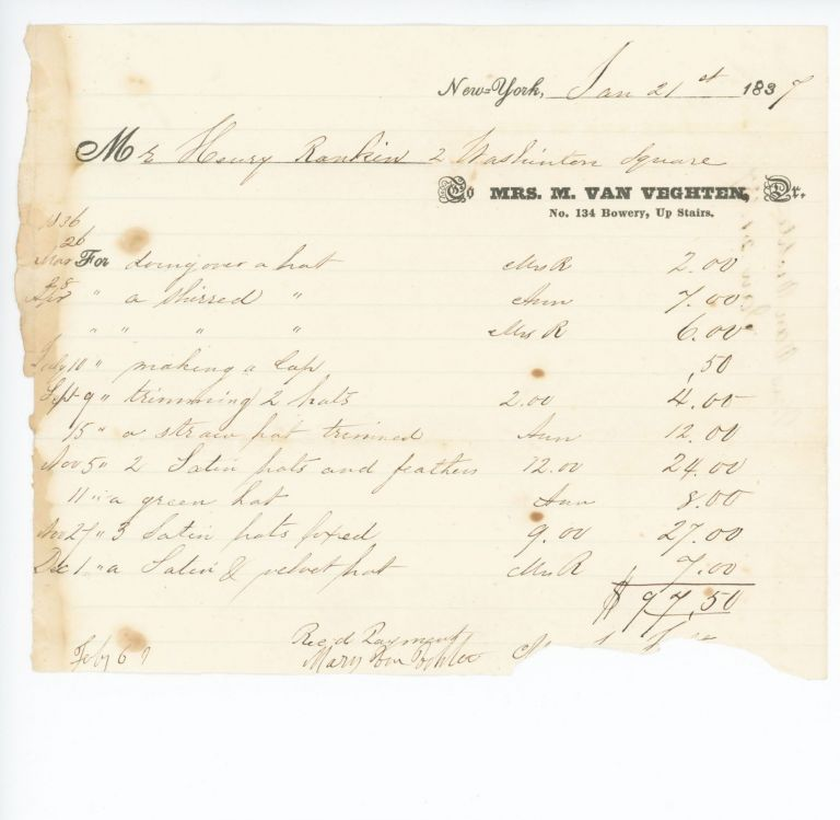 Commercial Invoice from a Millinery Upstairs on the Bowery. The Bowery.