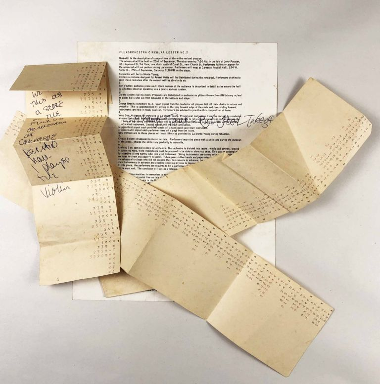 Fluxorchuestra Circular Letter #2 w/ Receipt Tape Score Used for the Performance at Carnegie Hall. Yoko Ono, La Monte Young.