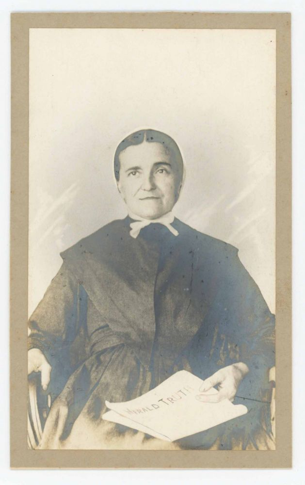 Cabinet Card of a Mennonite Woman Holding a Copy of the Herald of Truth. Mennonites.