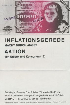 Announcement for the Exhibition Inflationsgerede Macht Durch Angst Aktion. Klaus Staeck.