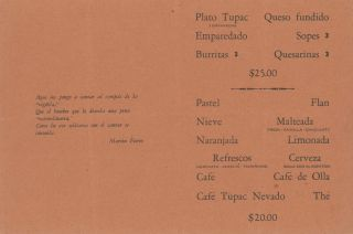 Menu for the Tupac Peña