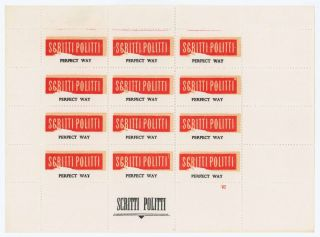 Stampsheet for Perfect Way. Scritti Politti