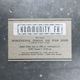 Letterpress Announcement for the Video Something Inside Me Has Died. Kommunity FK.