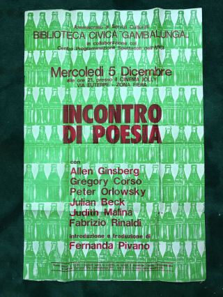 Poster for 'Incontro di Poesia'. Allen Ginsberg.