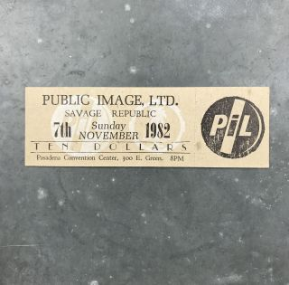 Unused Letterpress Ticket for a 1982 Show at the Pasadena Convention Center. Public Image Ltd.,...