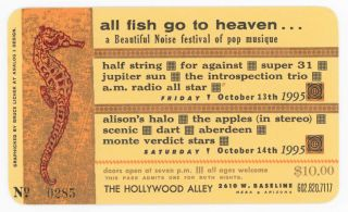 Letterpress Ticket to All Fish Go to Heaven. . . a Beautiful Noise Festival of Pop Musique. Bruce...