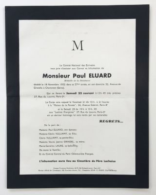 Funeral announcement for Paul Eluard, addressed and mailed to Lucien Scheler]. Paul Eluard, Le...