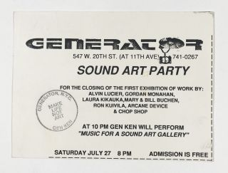 Postcard Invitation to the Sound Art Party at Generator. Alvin Lucier