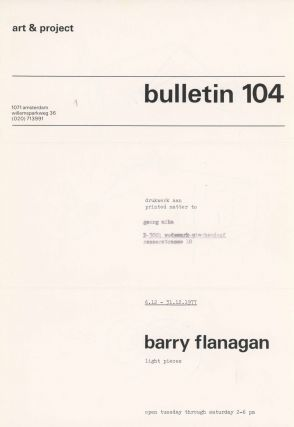 Art & Project Bulletin 104. Light Pieces. Barry Flanagan