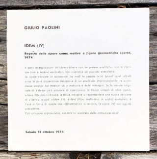 IDEM (IV) Exhibition Announcement. Giulio Paolini