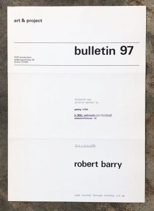 Art & Project Bulletin 97. Robert Barry