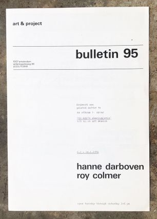 Art & Project Bulletin 95. Hanne Darboven, Roy Colmer