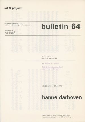 Art & Project Bulletin 64. 16.12.1972-12.1.1973. Hanne Darboven
