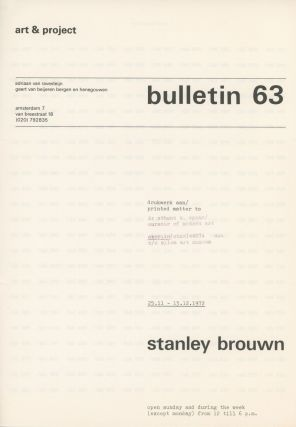 Art & Project Bulletin 63. Stanley Brouwn